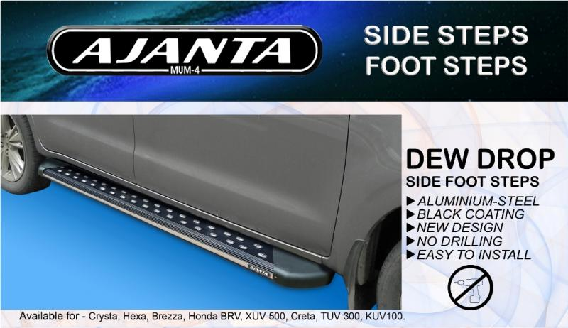 AJANAT-Dew drop-SIDE FOOT STEP-SIDE-STEPPER-FOR -CRETA RUNNING BOURD-BLACK-SS.
