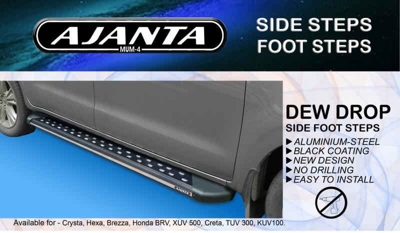 BLACK-SIDE-FOOT-REST-DEW DROP-FOR-INNOVA CRYSTA-TATA HEXA-BRV-ALUMINUM-SIDE-STEP