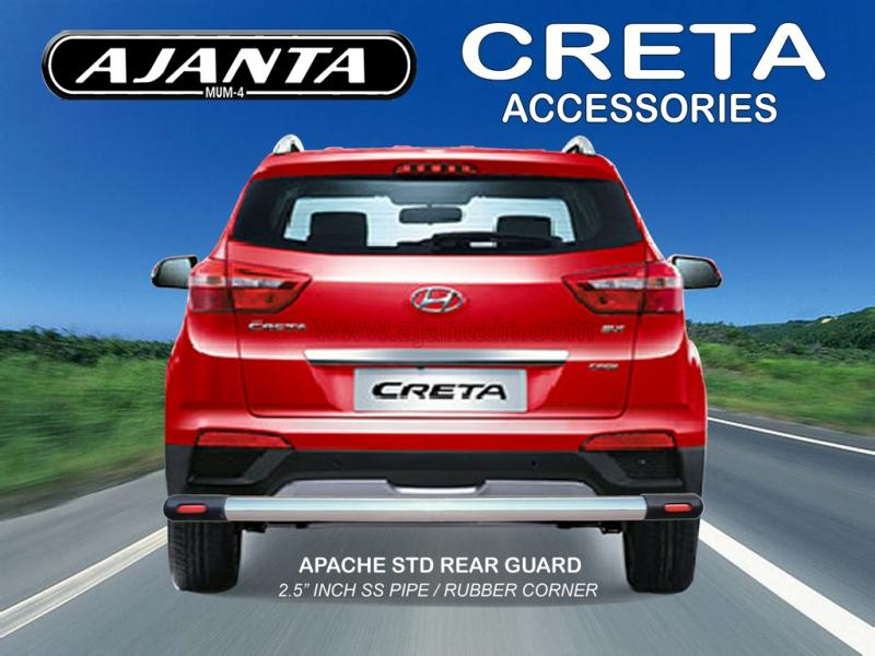 HYUNDAI CRETA BACK GUARD APACHE STD. STEEL PIPE REAR BUMPER GUARD AJANTA MUMBAI.