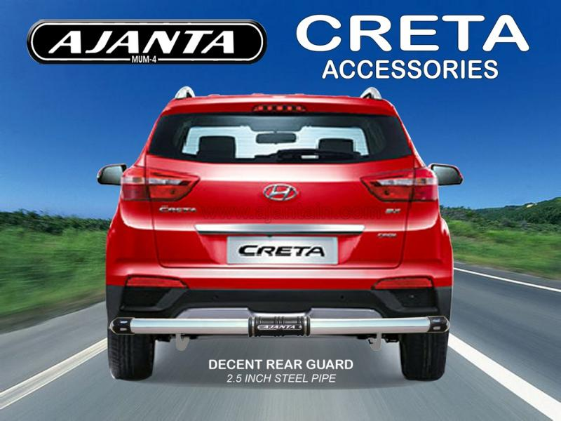 CRETA BACK GUARD DECENT REAR GUARD 2.5 INCH SS PIPE REAR GUARD AJANTA MUMBAI.