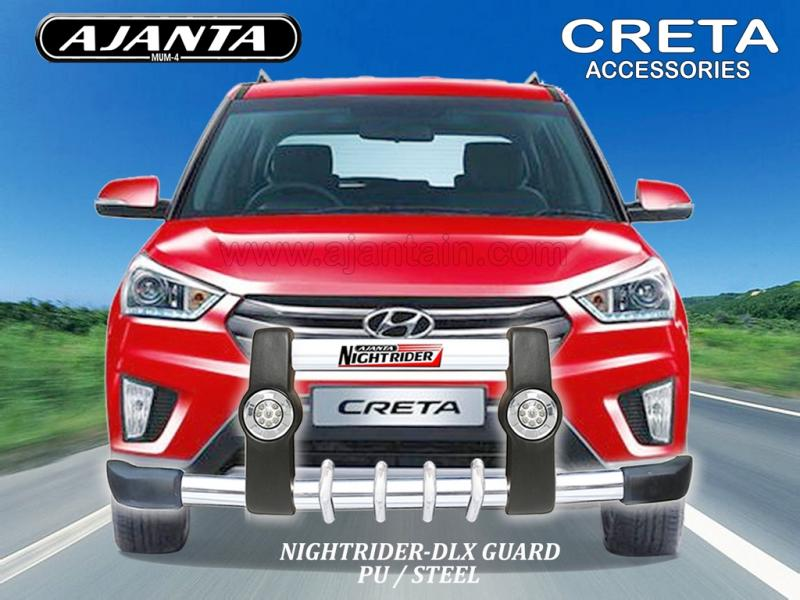 CRETA FRONT GUARD PU-DRL-LIGHT-STEEL FRONT GUARD NIGHTRIDER DLX - AJANTA INDIA.