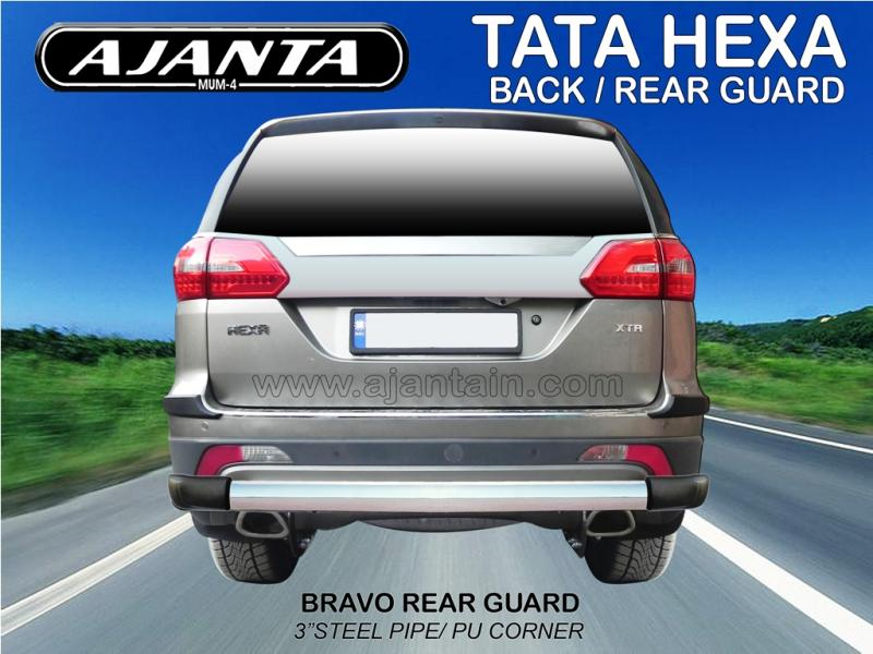 HEXA BACK GUARD-BRAVO STD REAR GUARD-3 INCH STEEL-PIPE BUMPER-GUARD-AJANTA-INDIA