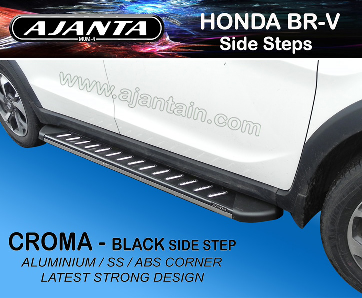 HONDA BRV-BLACK-SIDE-STEPS-CROMA-FOOT-REST-RUNNING BOURD-FOR-BRV-HONDA-AJANTA