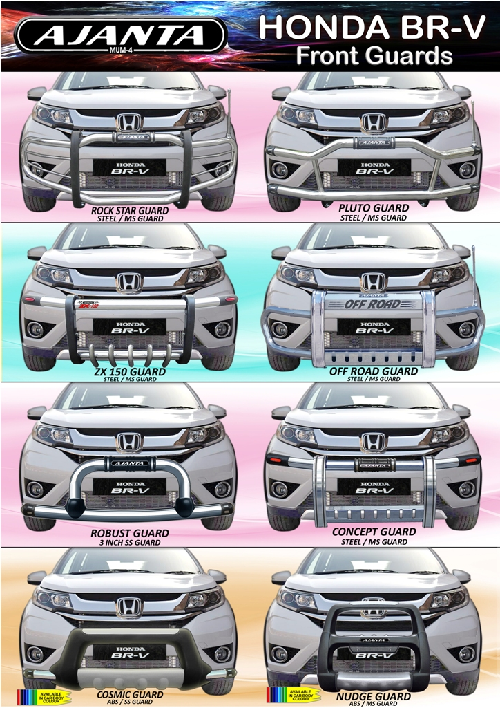 LATEST CAR ACCESSORIES FOR HONDA BRV STEEL FRONT BUMPER GUARD-MANUFACURE-AJANTA.