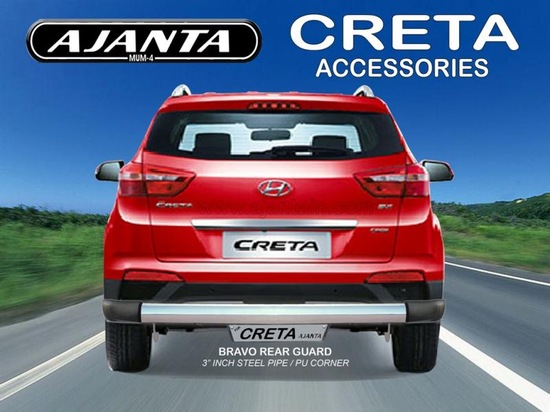 LATEST GUARD FOR HYUNDAI CRETA BACK GUARD BRAVO STEEL PIPE REAR GUARD AJANTA MUM