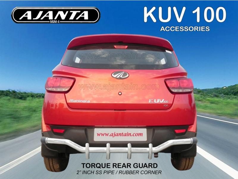MAHINDRA-KUV-100-ACCESSORIES-BACK-GAURD-REAR-STEEL-GUARD-TORQUE-AJANTA-GUARD-MUM