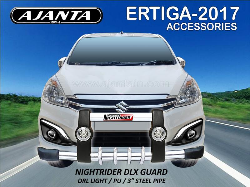 NEW ERTIGA FRONT BUMPER NIGHTRIDER DLX GUARD WITH LED LIGHT, 3 INCH STEEL GUARD.