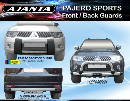PAJERO SPORTS accessories front guard roof racks back guards. AJANTA FRONT GUARD