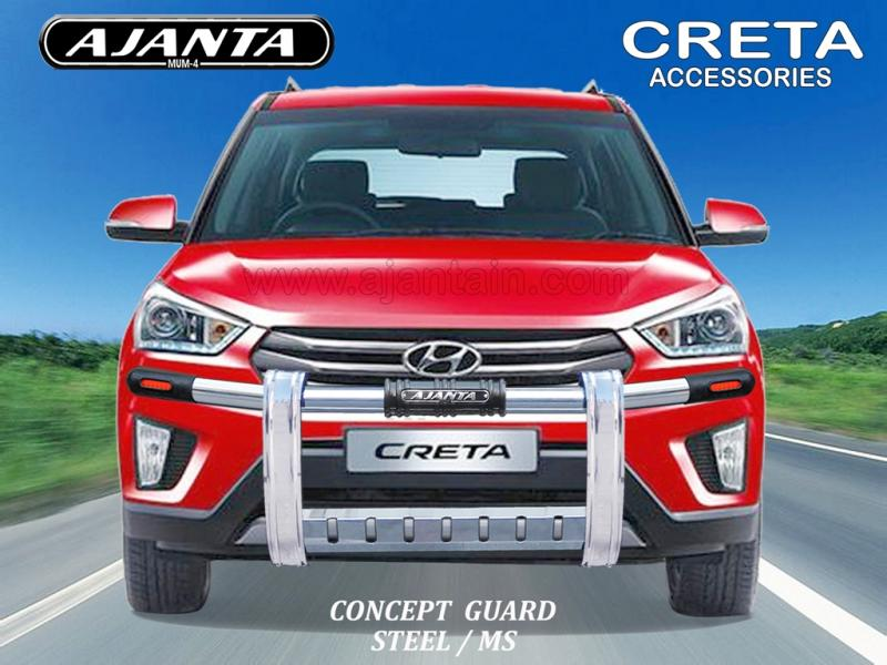 CRETA ACCESSORIES-FRONT GUARD STEEL MS GUARD CONCEPT AJANTA GUARD, ROOF RACK,