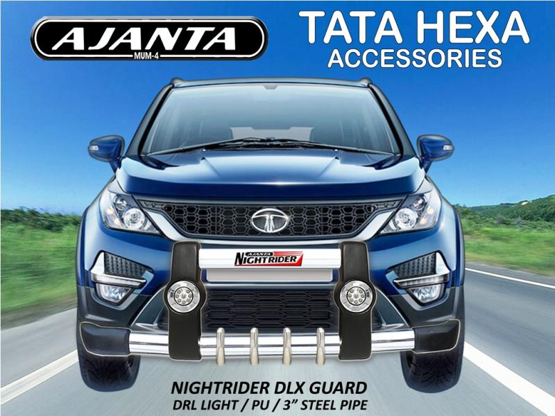 TATA HEXA LATEST ACCESSORIES-NIGHTRIDER DLX-FRONT BUMPER GUARD-AJANTA GUARD HEXA