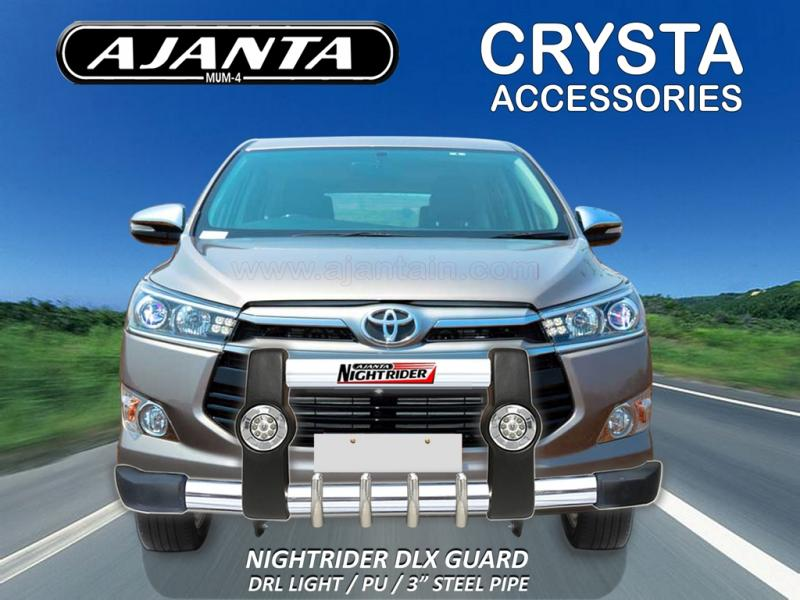 TOYOTA NEW INNOVA CRYSTA ACCESSORIES-FRONT GUARD-PU-STEEL-WITH-LED-LIGHT-AJANTA